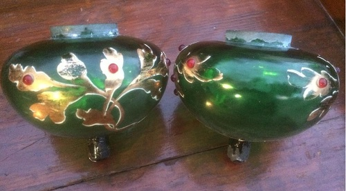 paire de toupies émaillées pour lampe à pétrole piano