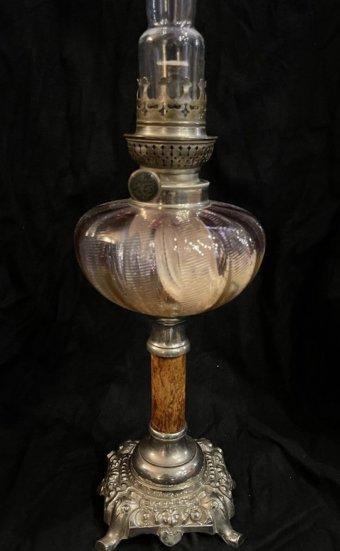 lampe à pétrole colonne onyx pied,