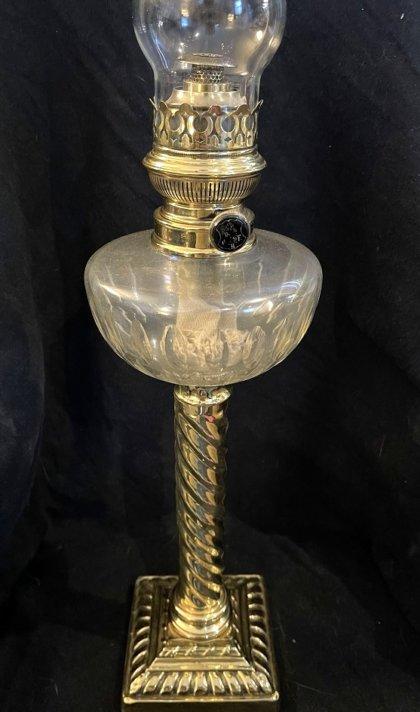 lampe à pétrole bol cristal taillé